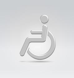 Silver wheelchair person icon vector