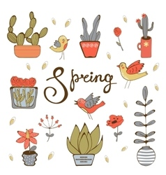 Spring hand drawn collection vector image vector image