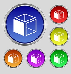 3d cube icon sign Round symbol on bright colourful vector