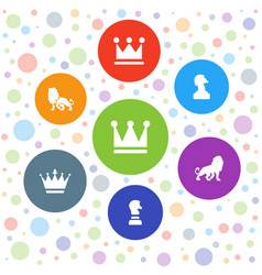 7 king icons vector