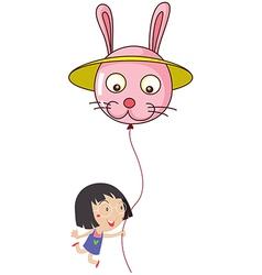 A cute little girl holding a bunny balloon vector
