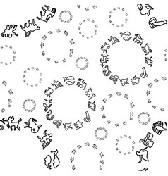 a pattern of black and white circles zodiac vector image