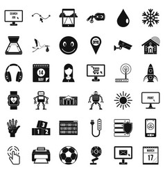 Application icons set simple style vector