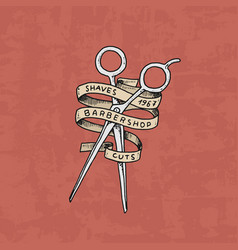 Barbershop badge label logo scissors emblem for vector