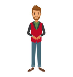 Bearded man standing dressed in red and gray vector