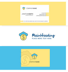 beautiful cloud dollar logo and business card vector image