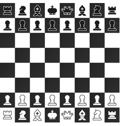 black and white chess pieces on chessboard design vector image