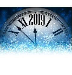 Blue 2019 new year background with clock vector
