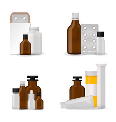 bottle pack template mockup blank pharmaceutical vector image