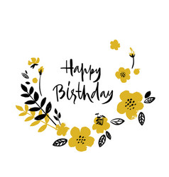 Brush textured flower birthday card vector