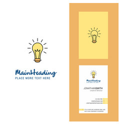 bulb creative logo and business card vertical vector image