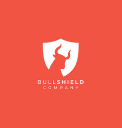 bull shield logo design head in shield vector image