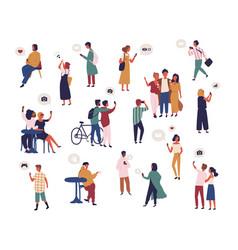 bundle of people checking social media taking vector image