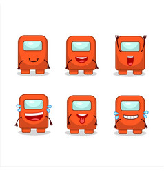 Cartoon character among us orange with smile vector