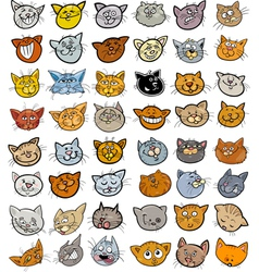 Cartoon funny cats heads big set vector image