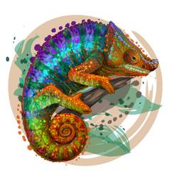 chameleon a graphic multi-colored portrait vector image