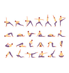 character engaged fitness yoga large set woman vector image