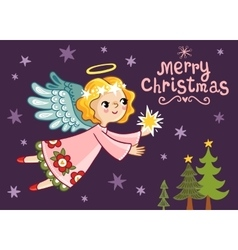 Christmas card with an angel who holds a star vector