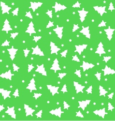 Christmas Tree with snow green background pattern vector image