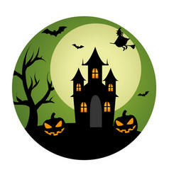 Circular landscape of casttle in halloween night vector