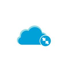Cloud computing icon decrease arrows icon vector