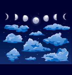 clouds and moon ins nigh sky cartoon background vector image