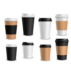 coffee cups paper takeaway realistic cups white vector image