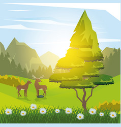 colorful background of sunny landscape with deer vector image
