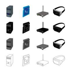 computer equipment system unit router 3d glasses vector image