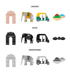 Country india cartoonblackmonochrome icons in vector