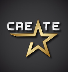 create golden star inscription icon vector image