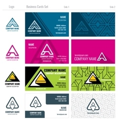 Creative business cards set with A logo vector image