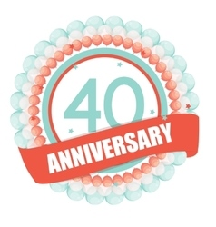 Cute template 40 years anniversary with balloons vector