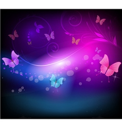 Dark background with butterflies vector