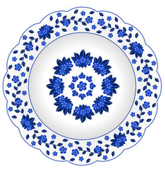 decorative porcelain plate ornate with vector image