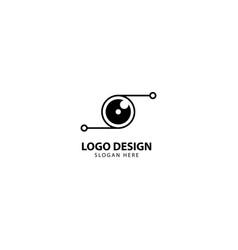 Digital camera and lens logo design template vector