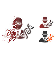 Dissipated pixel halftone geneticist scientist vector