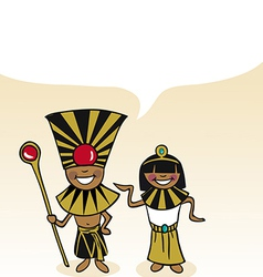 Egyptian cartoon couple bubble dialogue vector