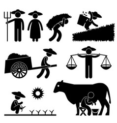 farm farmer worker farming countryside village vector image