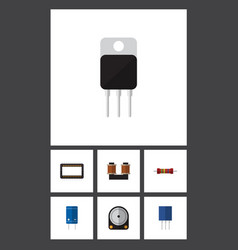 Flat icon electronics set of coil copper vector