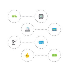 flat icons computer money box verdict and other vector image