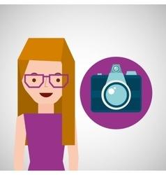Girl glasses camera tourist traveler vector