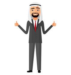 Glad arab iran business man showing thumb up vector