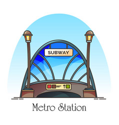 Glassware building metro station train railway vector