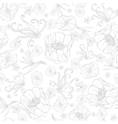 Gray Drawing Tropical Flowers Seamless vector