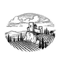hand drawn vineyard landscape vector image
