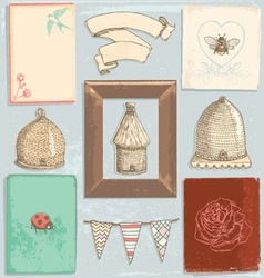 Hand Drawn Vintage Garden Elements Set vector image