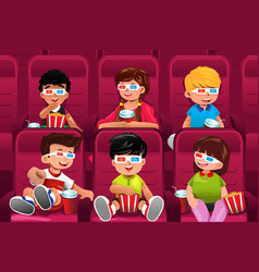 Happy kids going to a movie vector