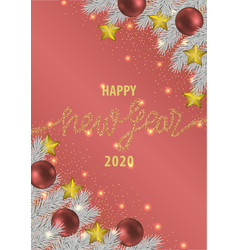 happy new year 2020 pink greeting card vector image