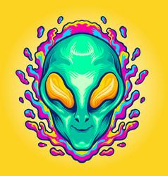 Head alien smile trippy vector